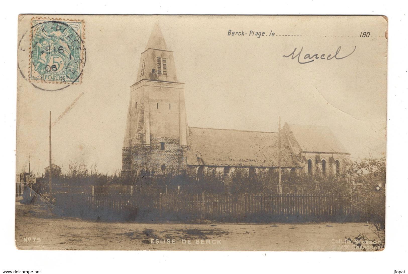 62 PAS DE CALAIS - BERCK PLAGE Eglise, En Carte Photo Pionnière - Berck