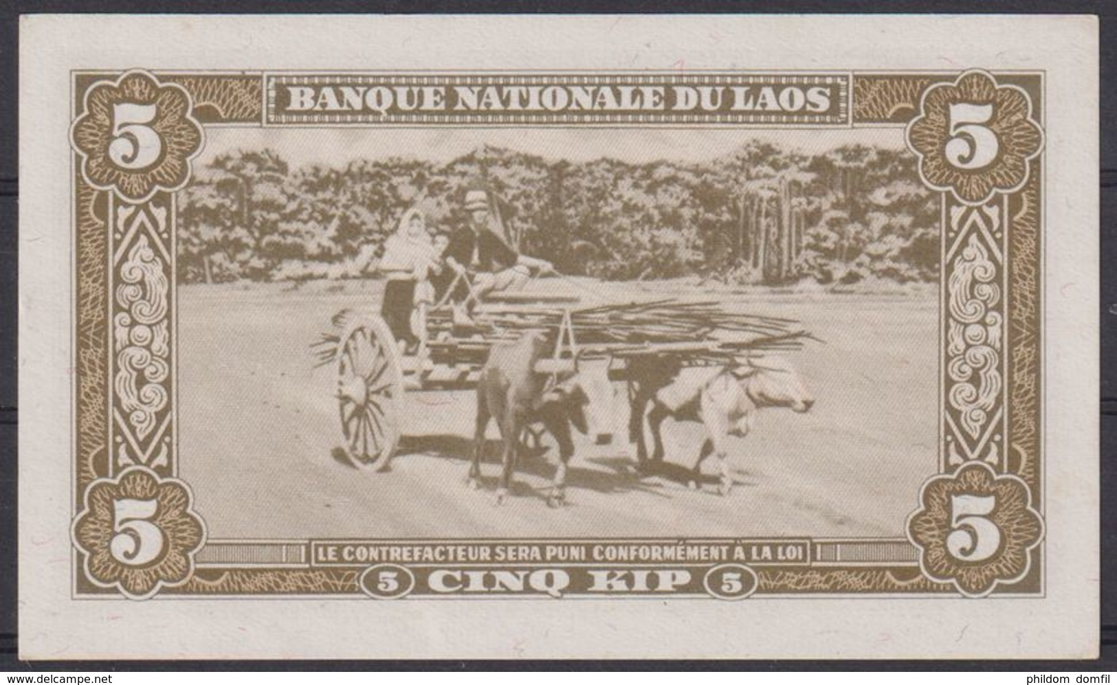 Ref. 2305-2728 - BIN LAOS . 1957. LAOS 5 KIP 1957 UN - Laos
