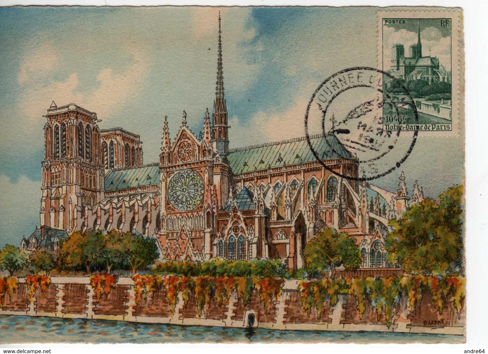 Carte Maximum Avec N°776 Notre Dame De Paris Oblitérée Journée Du Timbre 1947  Cote Yvert : D3  60E - 1940-49