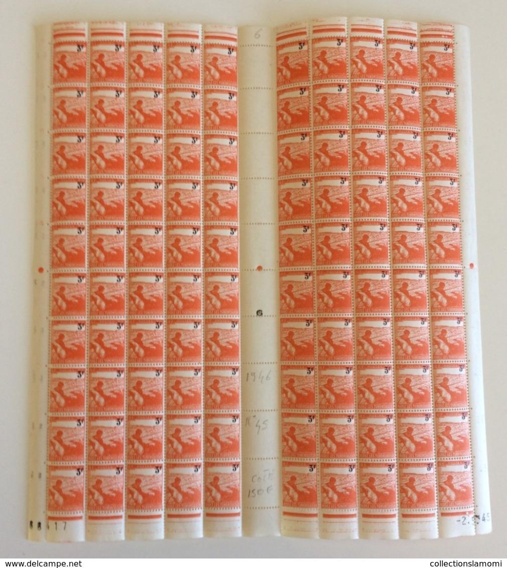 Coins Datés 2.5.1945 Neuf (Y&T N°736) - Coté 150€ (Feuille Complète 100 Val) - 1940-1949