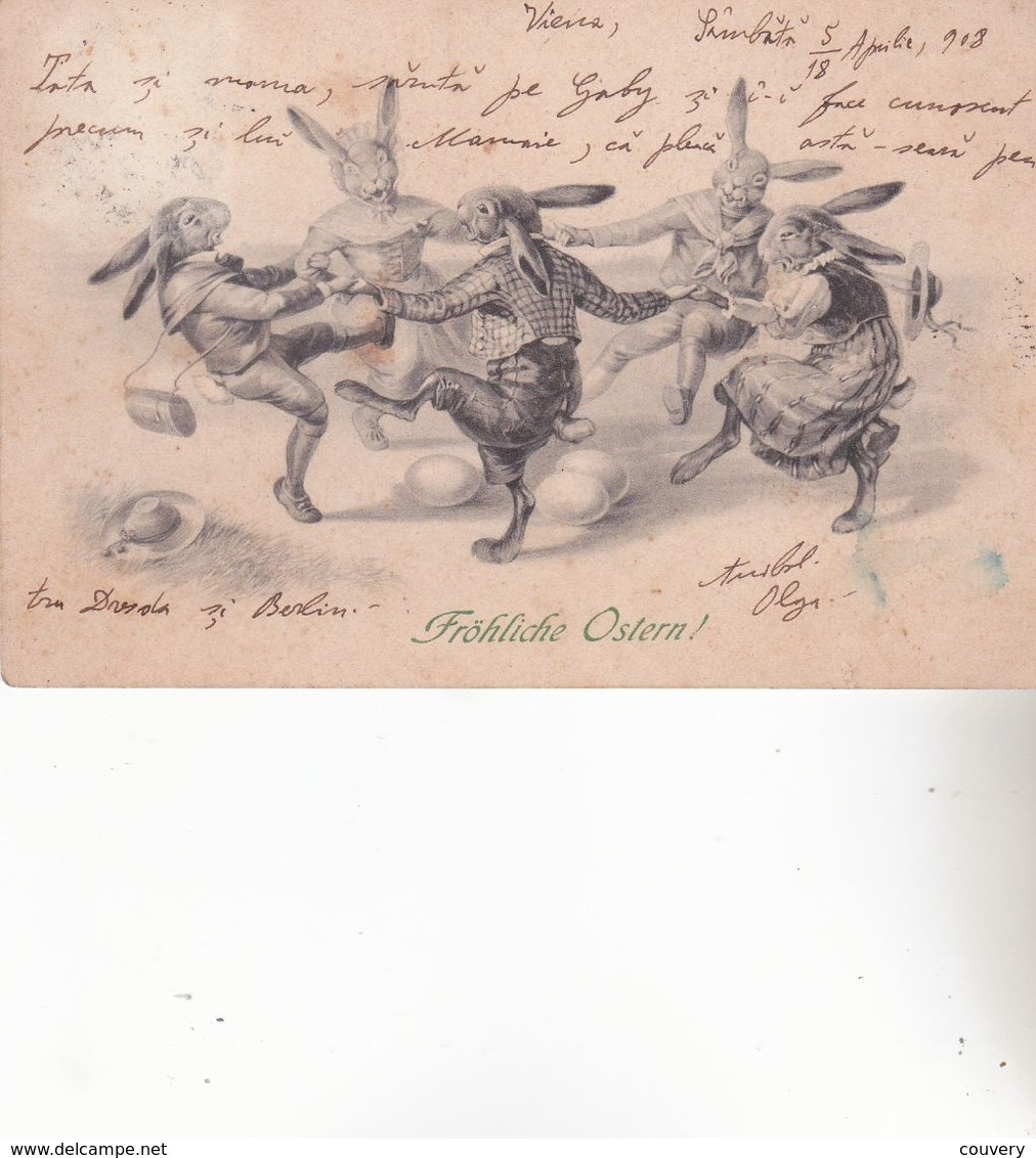 CPA LAPINS à COMPORTEMENT HUMAIN. ( M.M.VIENNE N°347) Voyagée En 1908. - Animales