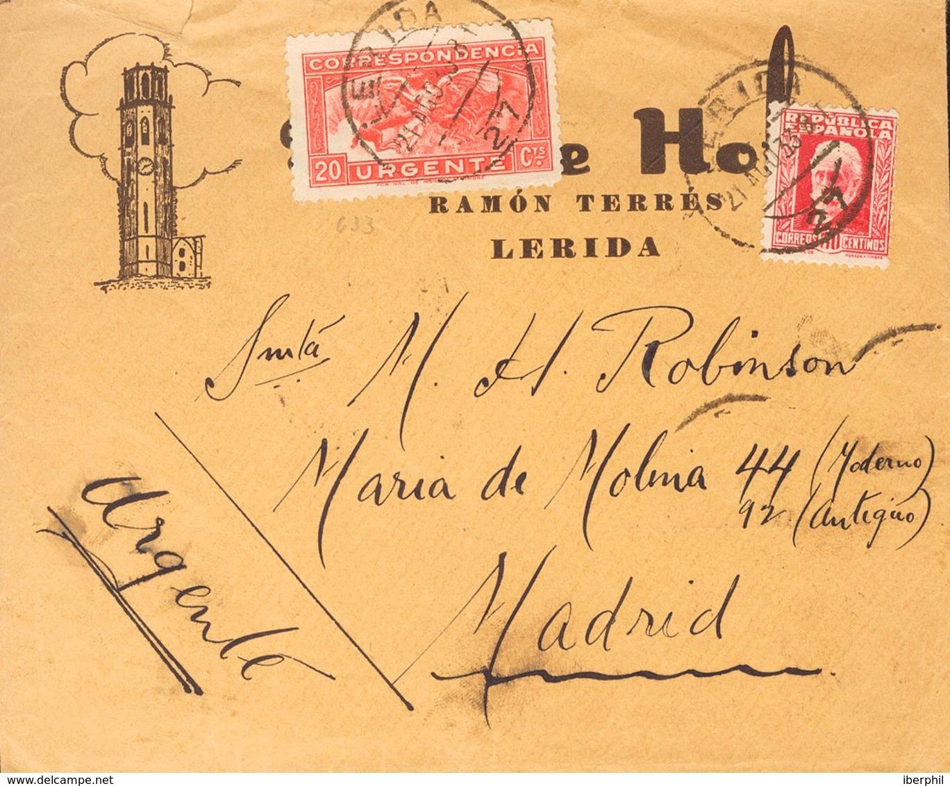 Sobre 669, 679. 1933. 30 Cts Carmín Y 20 Cts Rojo. LERIDA A MADRID. Al Dorso Fechador MADRID / NORTE / URGENCIA. MAGNIFI - Unclassified