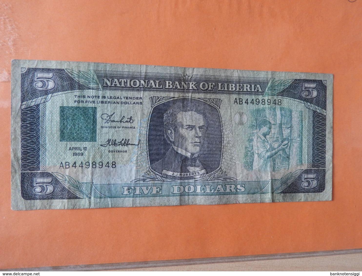 Liberia 5 Dollar 1989 Gebr. - Liberia