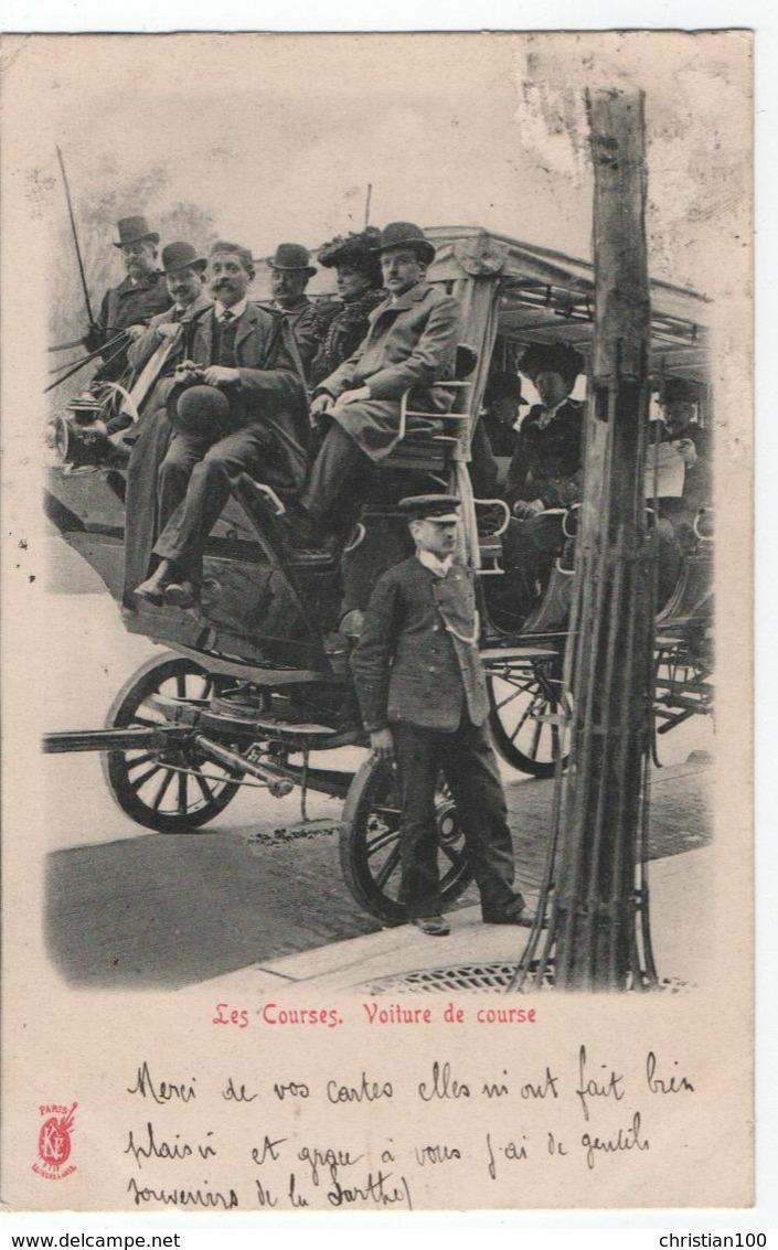 LES COURSES - VOITURE DE COURSE A PARIS - DILIGENCE ET COCHER - DEPART POUR LES COURSES HIPPIQUES ? - ECRITE 1902 - R/V - Transport Urbain En Surface