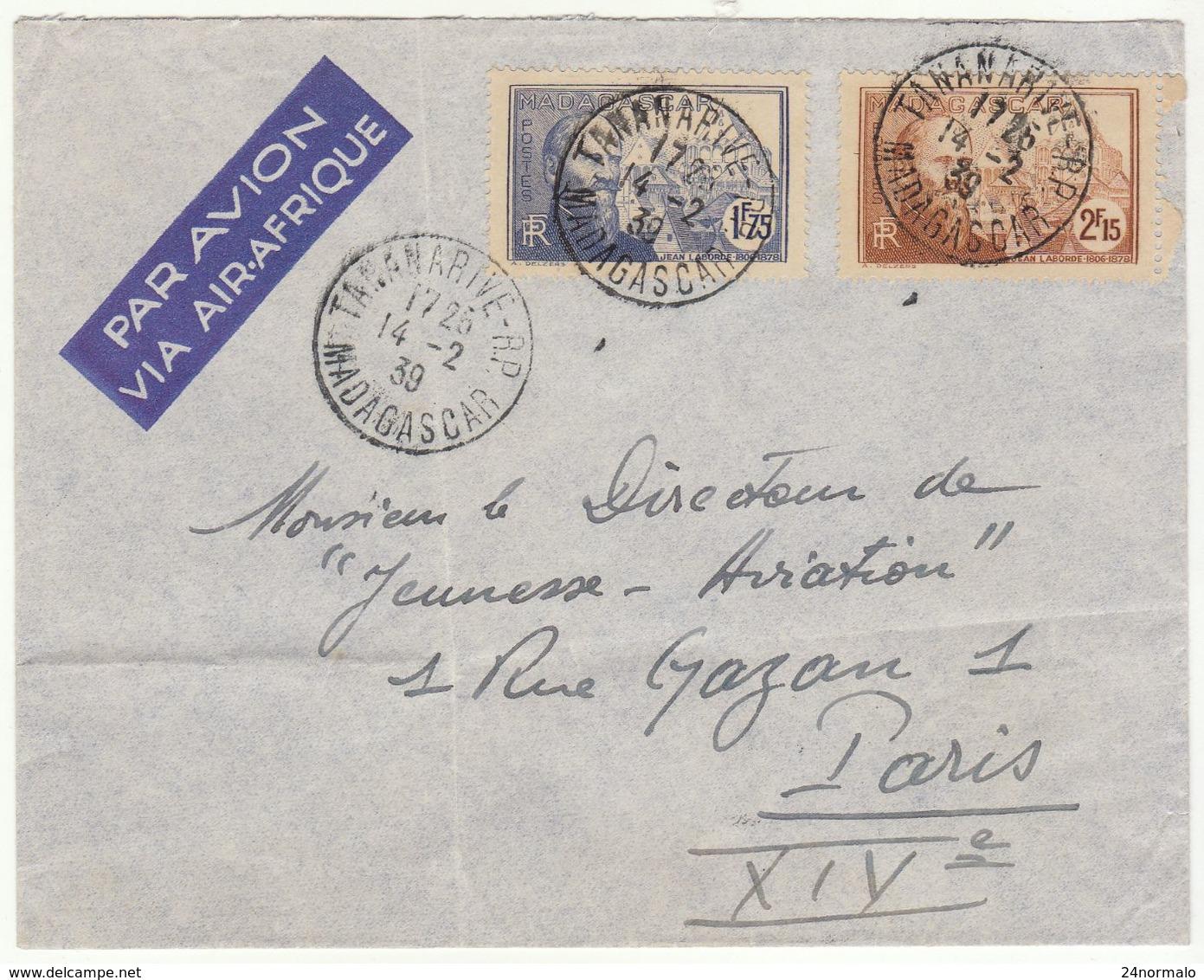 ESC /avion Tananarive 3F40 1939 - Lettres & Documents