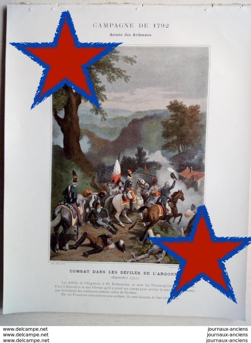 ALBUM MILITAIRE - ARMÉE DES ARDENNES - 1792 - COMBAT DANS LES DÉFILÉS DE L'ARGONNE - Historische Dokumente