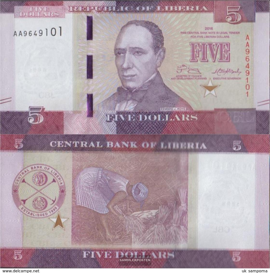Liberia Pick-number: 31a Uncirculated 2016 5 Dollars - Liberia