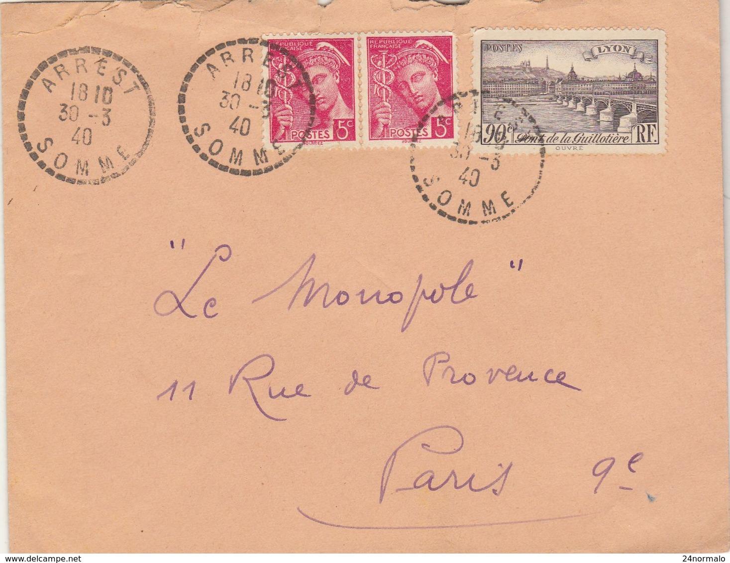 ESC 1F O.  Facteur Boîtier Arrest Somme 1940 - 1921-1960: Periodo Moderno