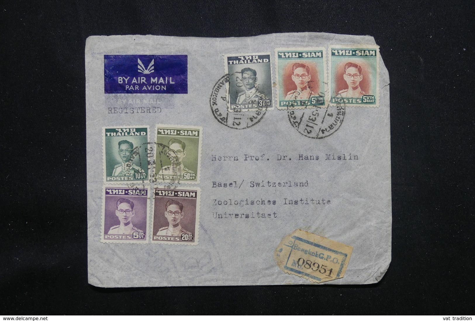 SIAM - Enveloppe En Recommandé De Bangkok Pour La Suisse En 1953 - L 64804 - Siam