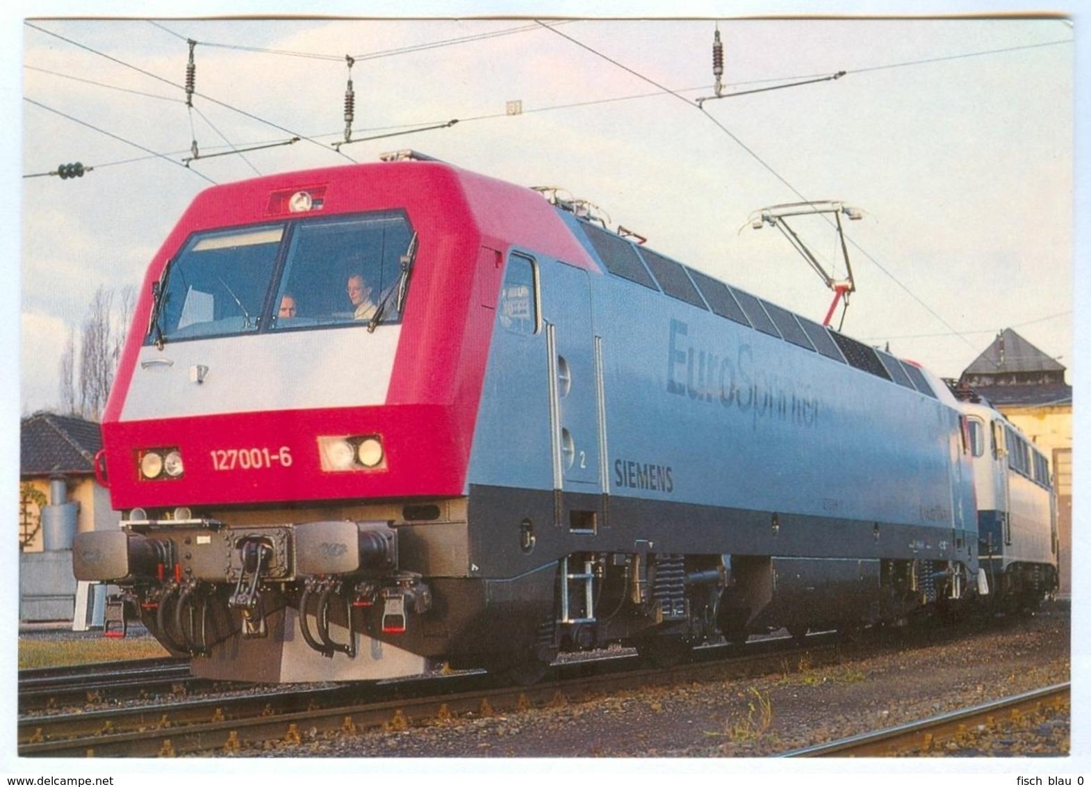 AK Eisenbahn Nürnberg Elektro-Versuchslok 127-001-6 EuroSprinter 1992 REIJU Colorkarte DB Franken Deutschland - Treinen