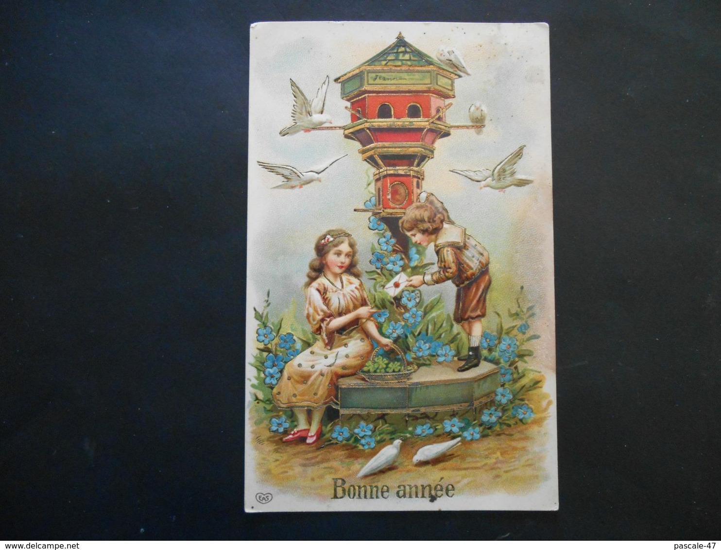 Enfants Sous Un Pigeonnier Avec Lettre, Myosotis Et Colombes - Dorure - Gaufrée - Bambini