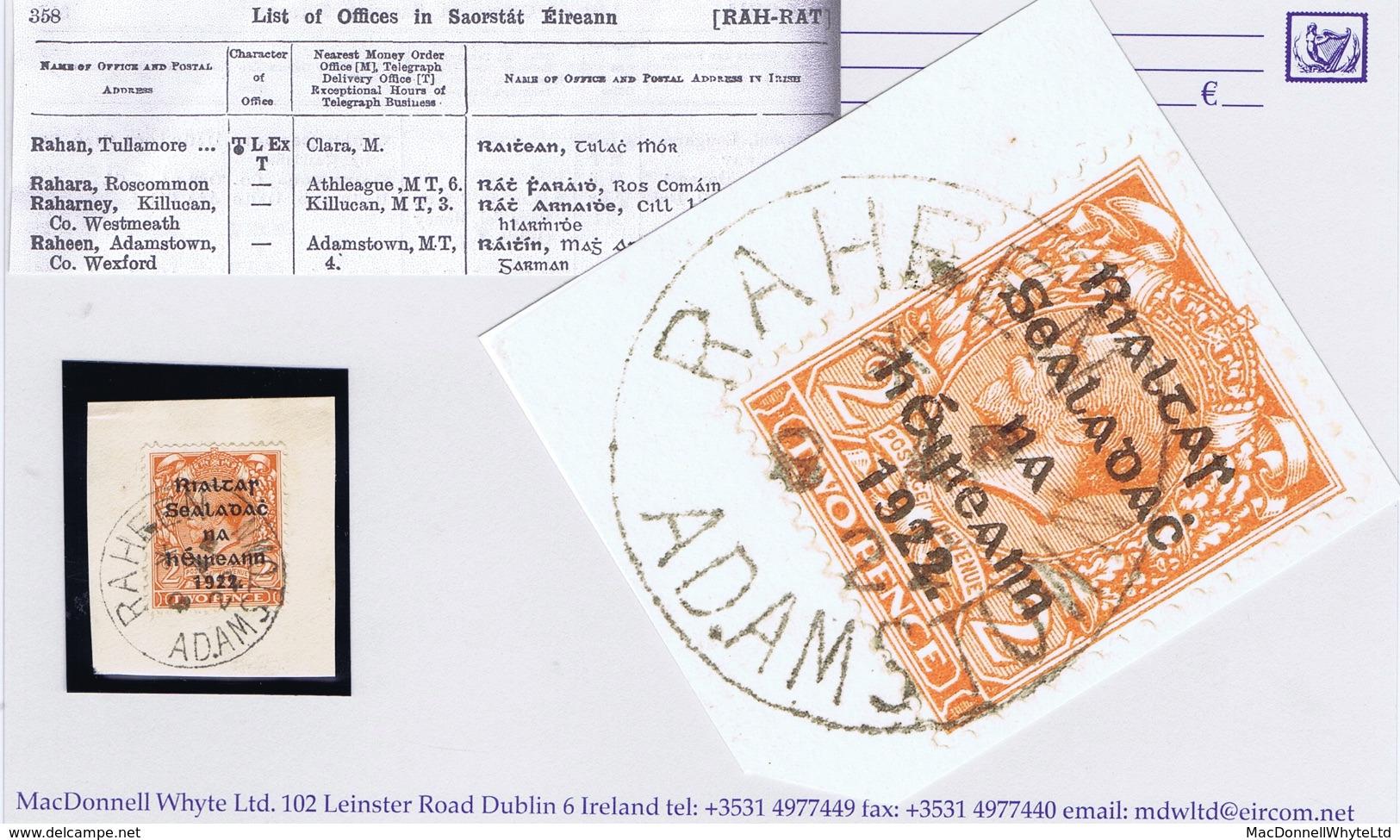 Ireland Wexford 1922 RAHEEN ADAMSTOWN 8 AP 22 Steel Cds On Thom Rialtas 2d Orange Die 2 On Piece - Ohne Zuordnung