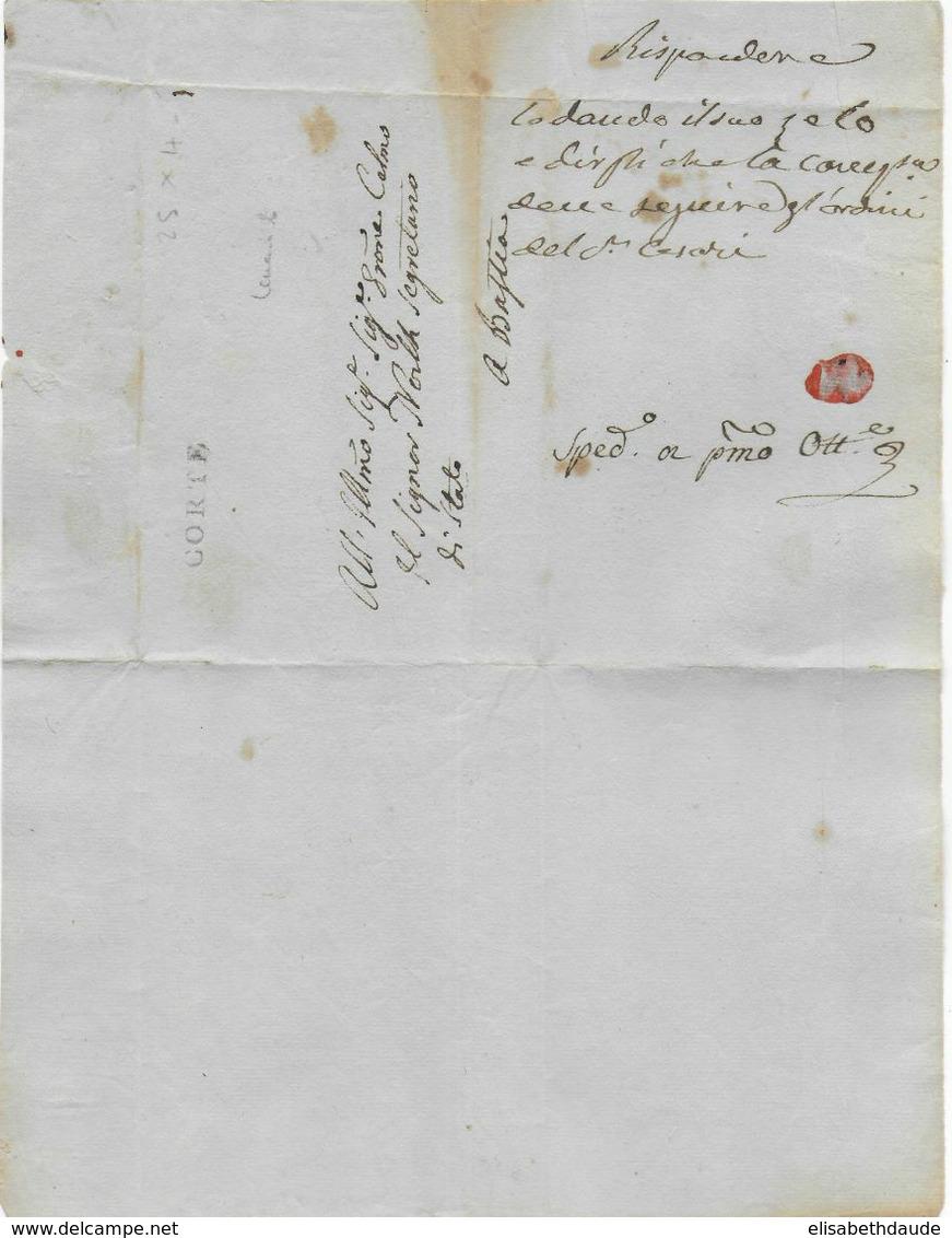 NON DATEE (1790/1796) - CORSE - LETTRE De CORTE Avec RARE MARQUE LINEAIRE 25x4 (IND 20 / 500 EUR !) => BASTIA - 1701-1800: Precursori XVIII