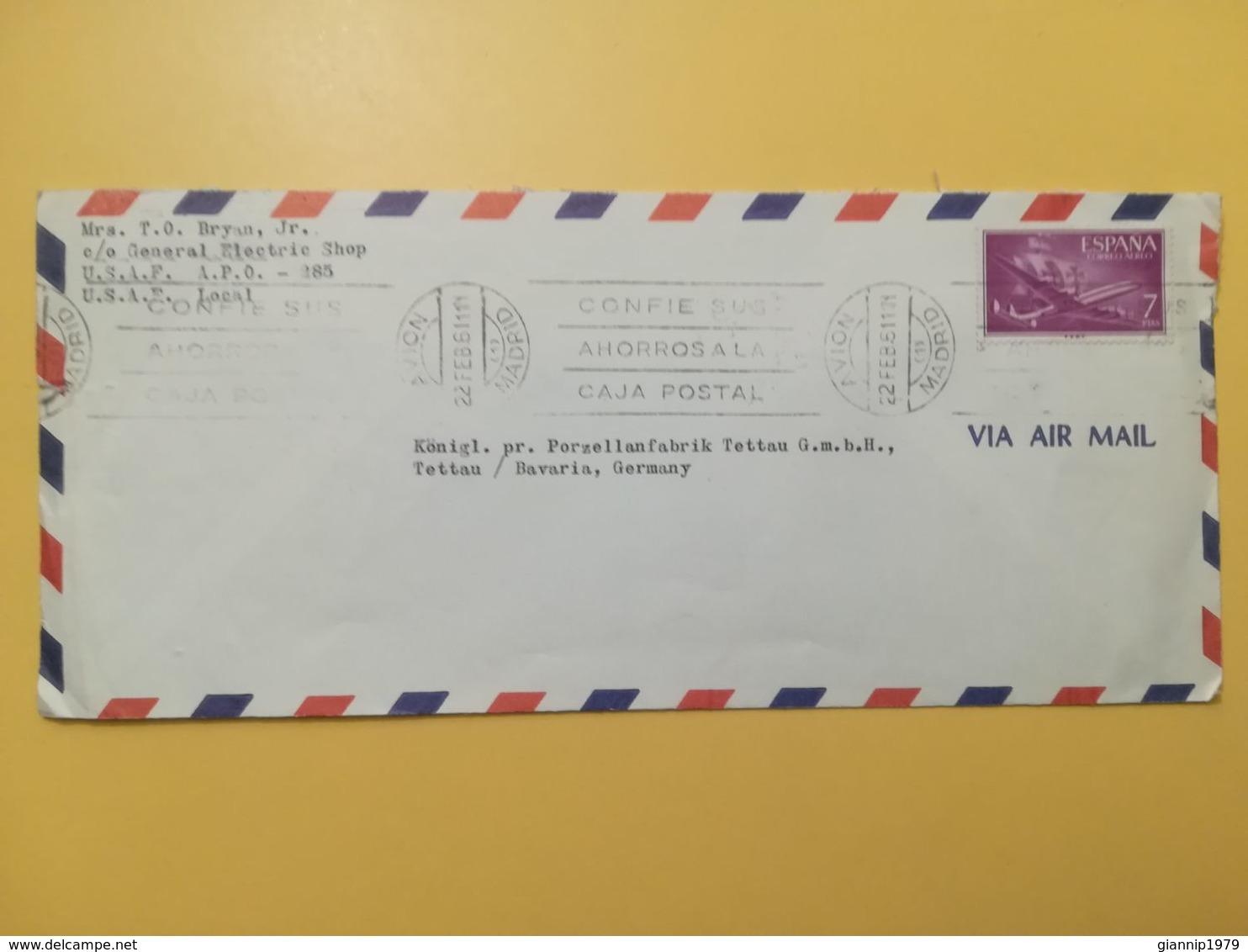 1961 BUSTA INTESTATA SPAGNA ESPANA BOLLO POSTA AEREA CORREO AEREO ANNULLO OBLITERE' MADRID - 1961-70 Briefe U. Dokumente
