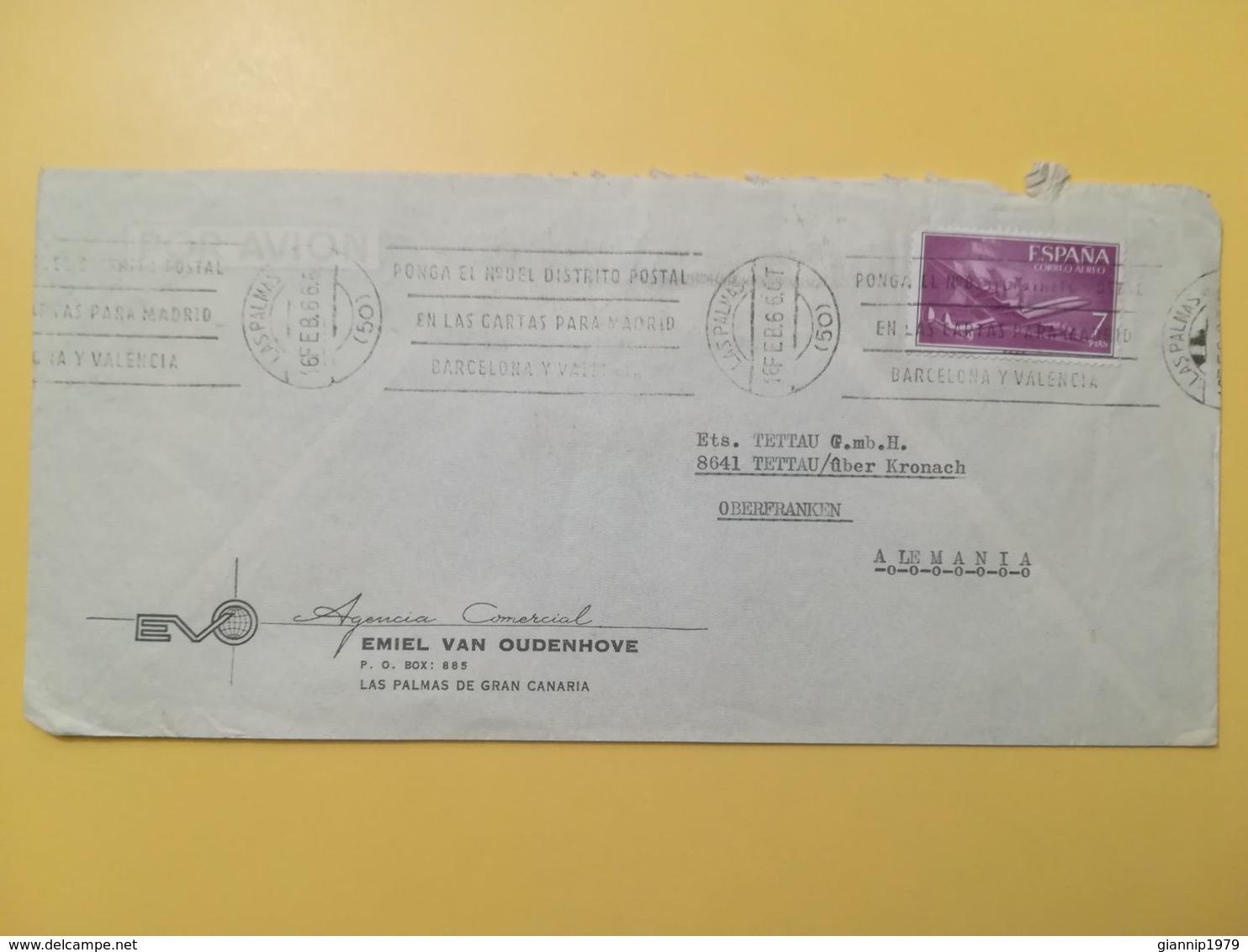 1966 BUSTA INTESTATA SPAGNA ESPANA BOLLO POSTA AEREA CORREO AEREO ANNULLO OBLITERE' LAS PALMAS - 1961-70 Briefe U. Dokumente