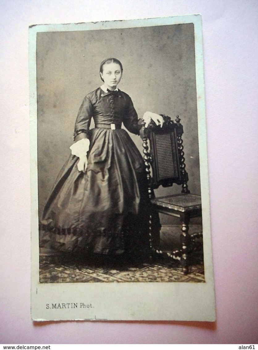 PHOTO CDV 19 EME Jeune FEMME CHIC   MODE  Cabinet MARTIN  A LIMOGES - Old (before 1900)