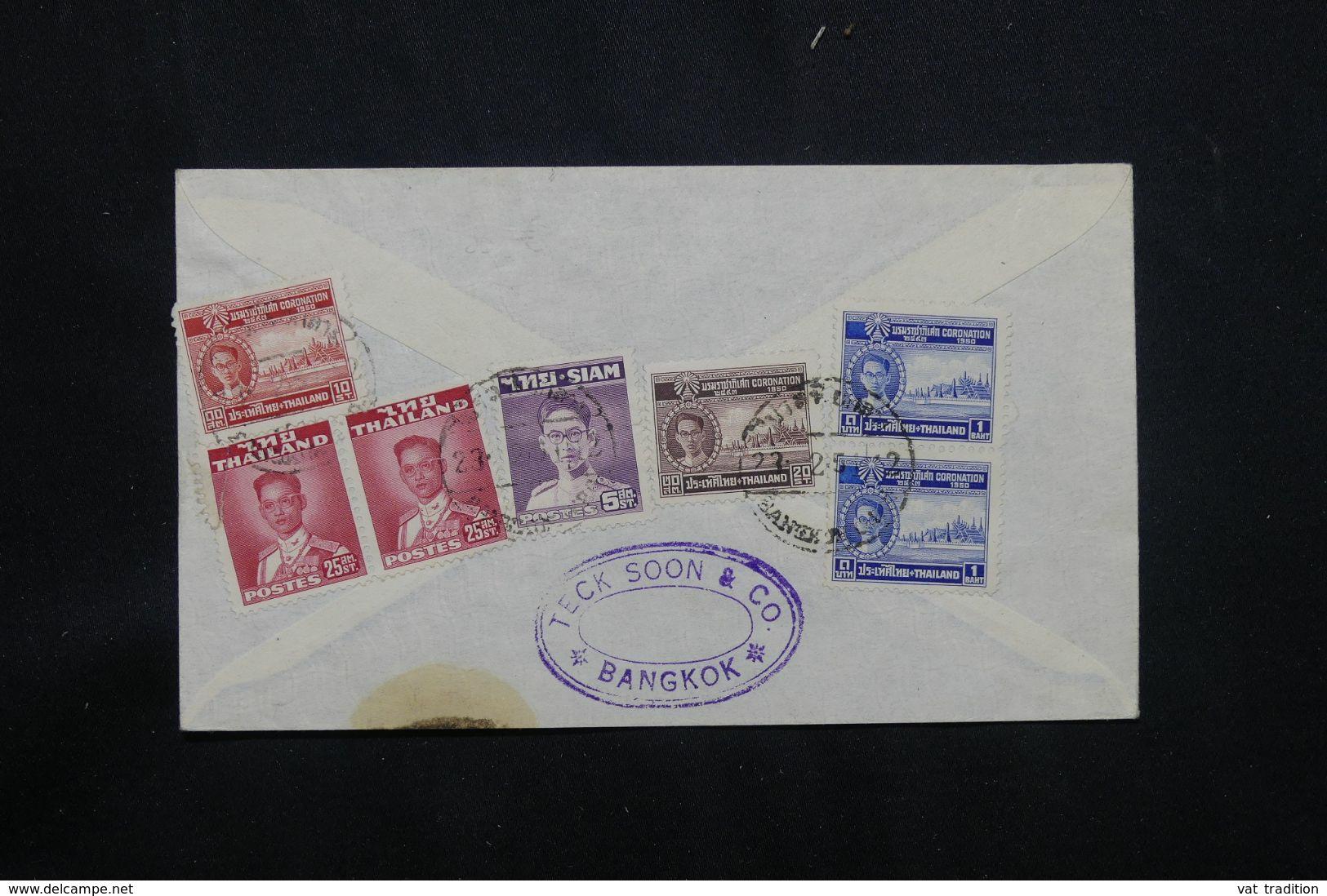 SIAM  - Enveloppe Commerciale De Bangkok Pour Les Etats Unis En 1951 Par Avion - L 65325 - Siam