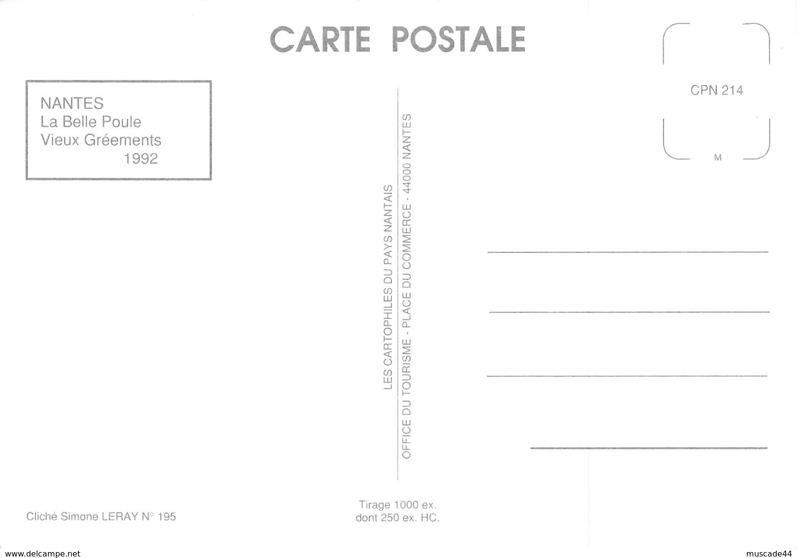 NANTES - LA BELLE POULE VIEUX GREEMENTS 1992 - Nantes