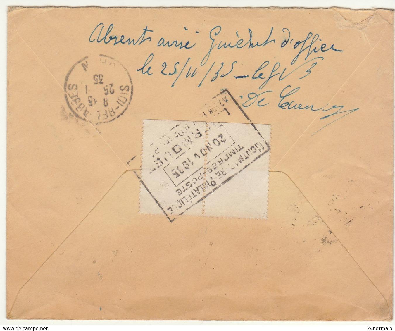 ESC Recommandée 1F75 O. Paris 68 -> Algérie, Absent Avisé, Mise Au Guichet D'office 1935 (2 Scans) - 1921-1960: Période Moderne