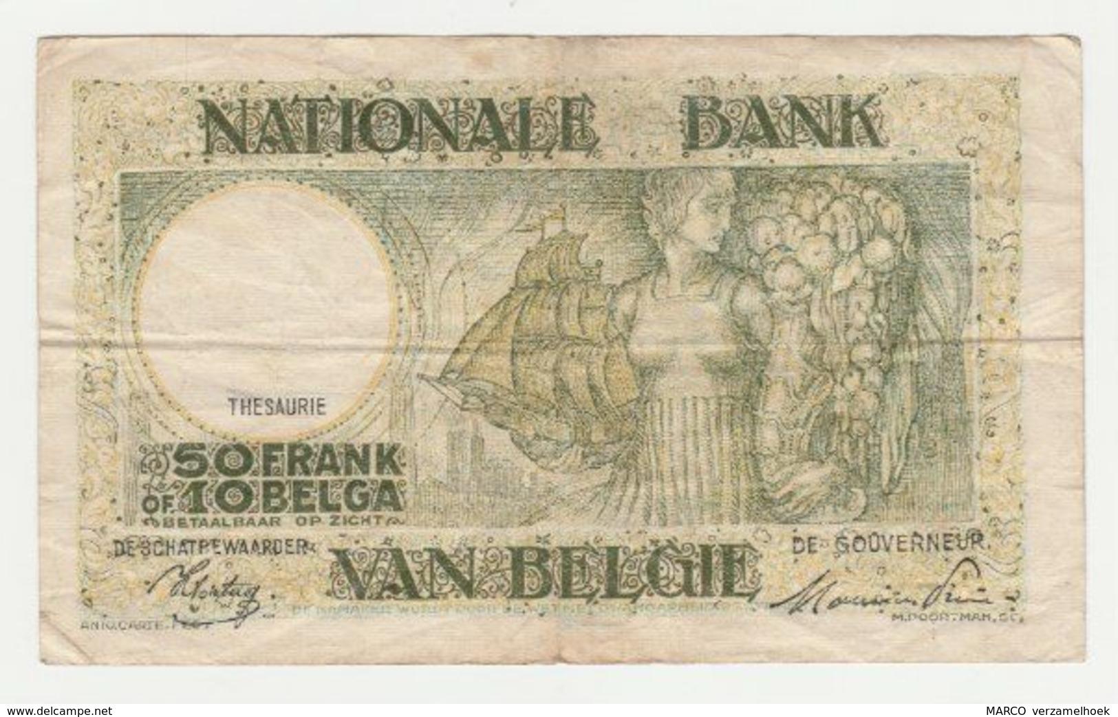 Used Banknote Belgie-belgique 50 Frank 10 Belgas 1945 - 50 Francs