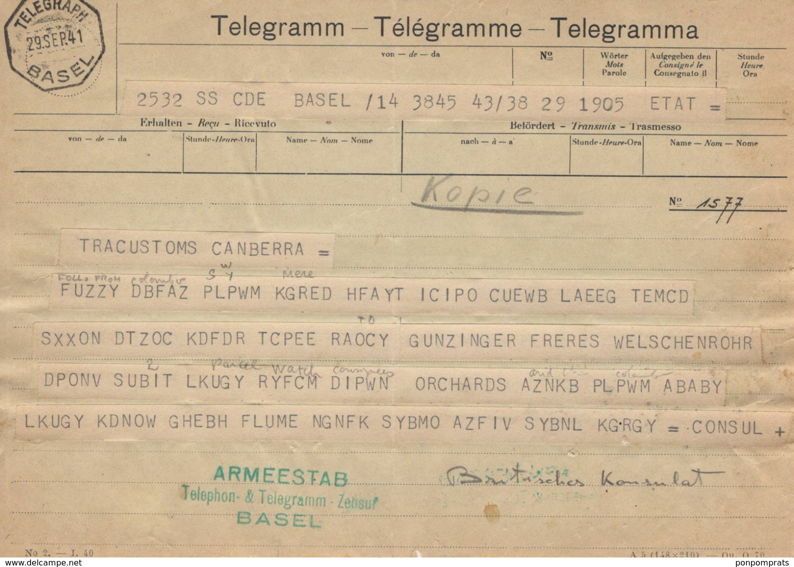Second World War: Code Telegram From The British Legation In Bern For TRANSCUSTOM CANBERRA 1941 - Historical Documents