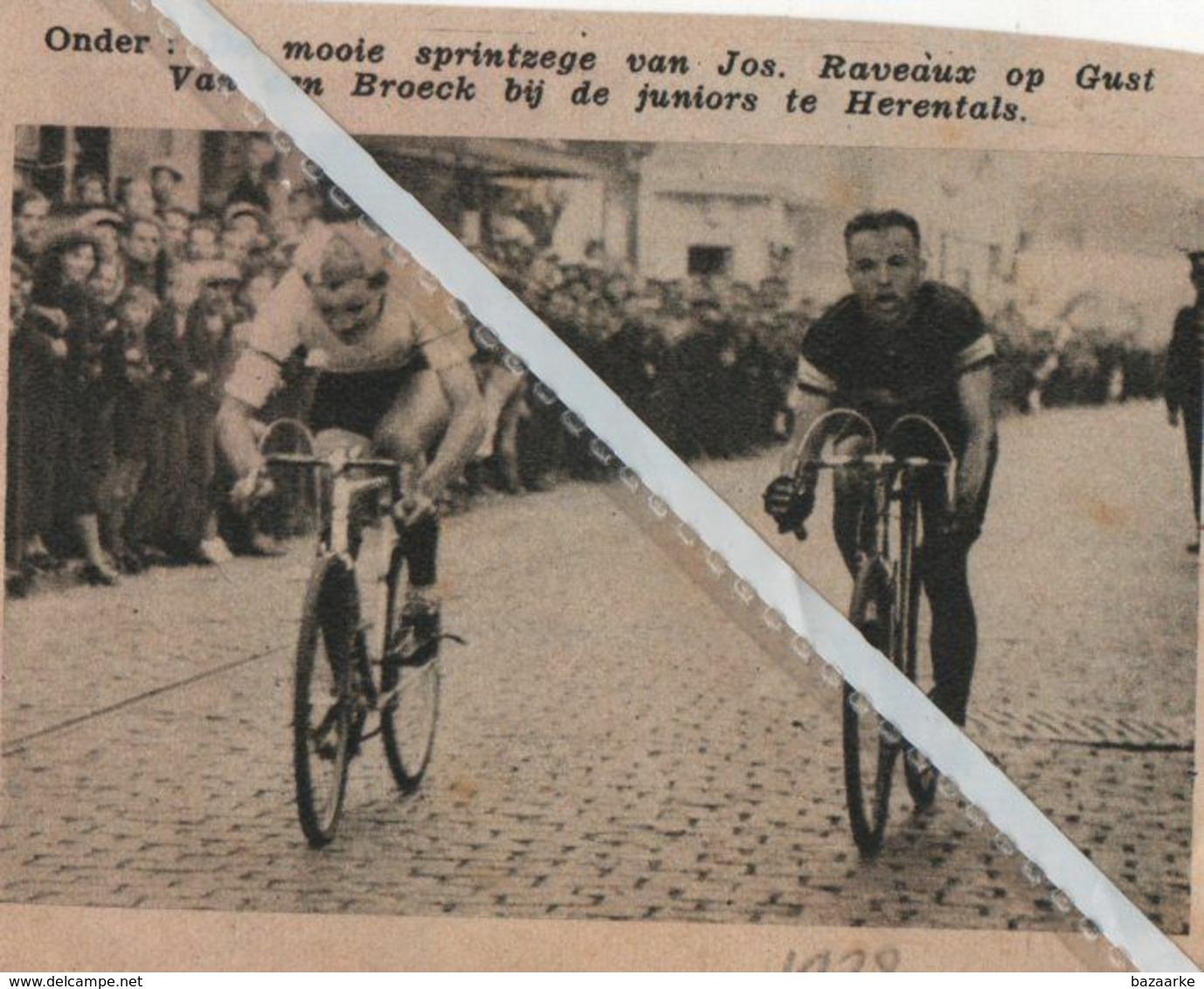 HERENTALS..1938.. DE MOOIE SPRINTZEGE VAN JOS. RAVEAUX OP GUST VAN DEN BROECK - Old Paper
