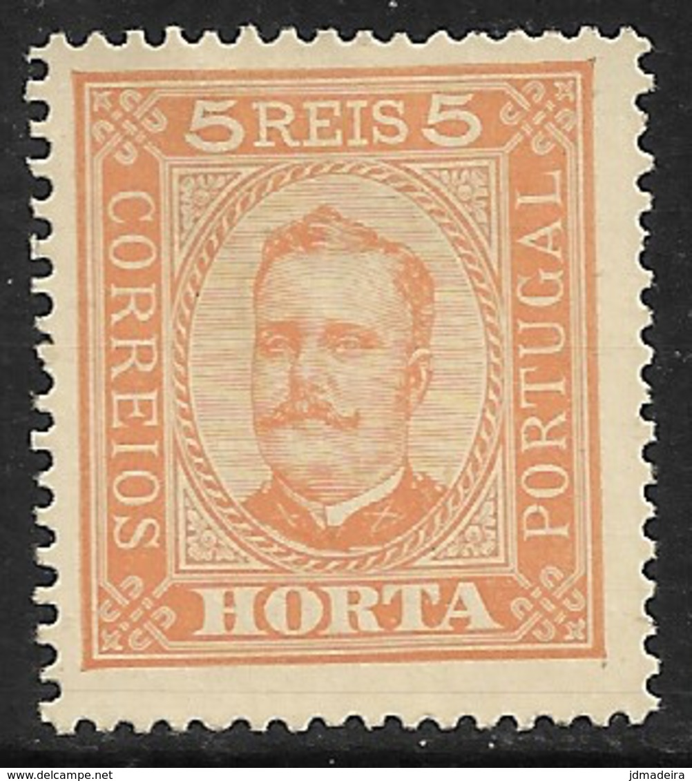Horta – 1892 King Carlos 5 Réis Pontinhado Paper - Horta