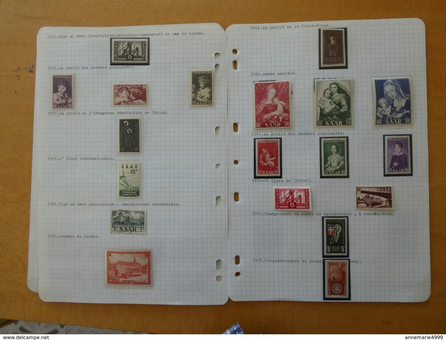 SARRE  Collection Cote 1250 € Tous Très Beaux Nombreux Neufs Sans Charnière - Saar
