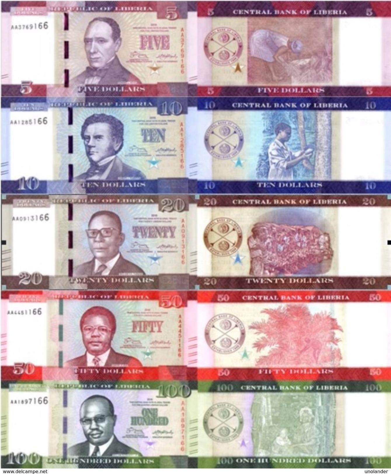 LIBERIA Set 5v: 5 10 20 50 100 Dollars Set 2016 2017 P 31 - 35 UNC - Liberia