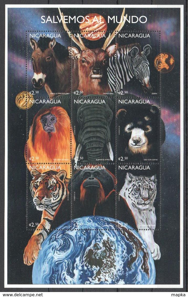 G895 NICARAGUA FAUNA WILD ANIMALS SPACE SALVEMOS AL MUNDO 1KB MNH - Altri