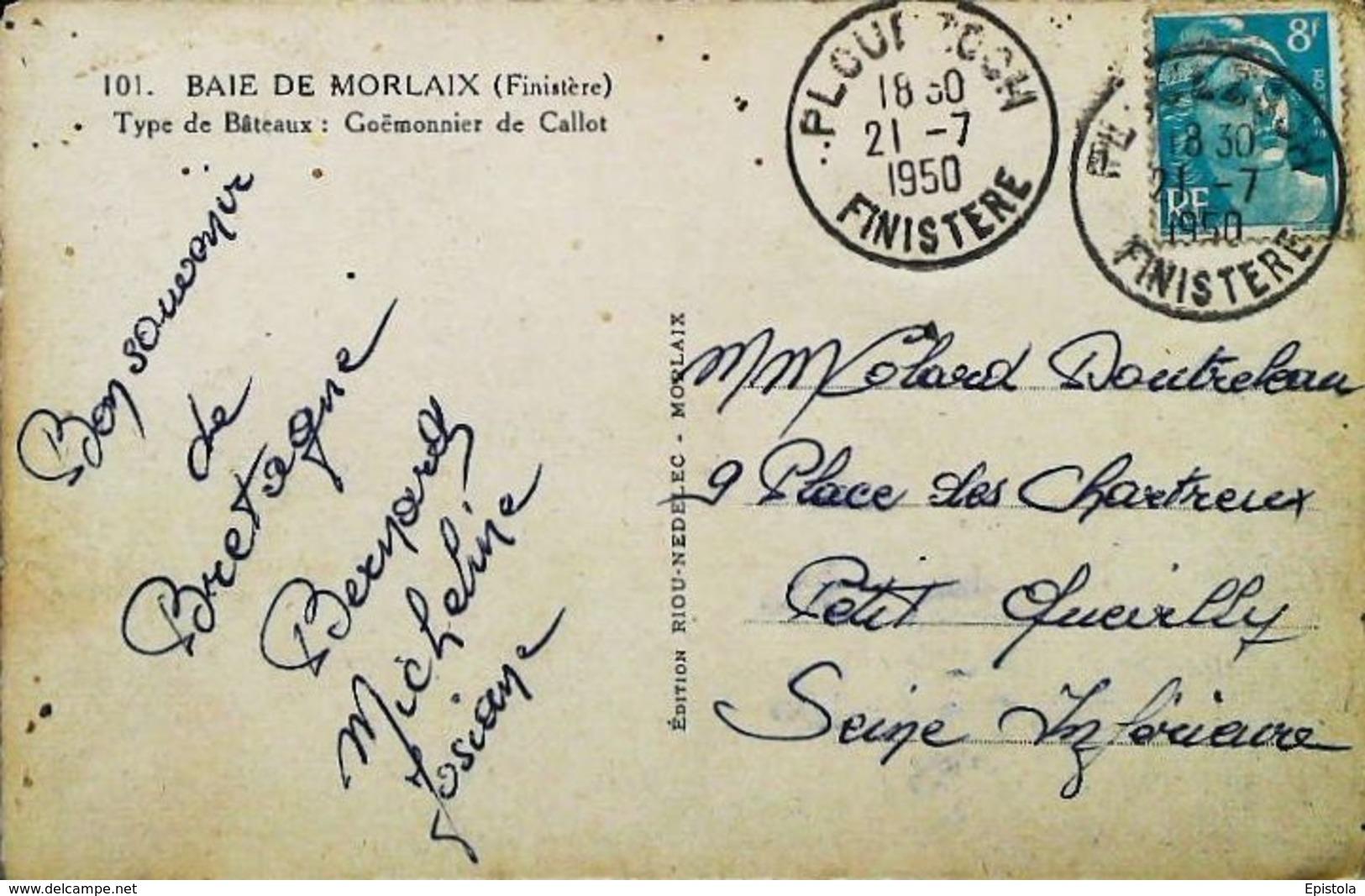 """MORLAIX  (Finistère)  Bateau """"GOEMONNIER De CALLOT 1950 (Vieux Gréement - Old Sailing Boat Or Fishing Ship) - Pêche"""