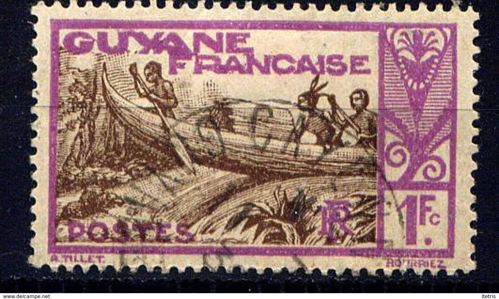 GUYANE - N° 124° -  PIROGUE SUR LE MARONI - Gebruikt