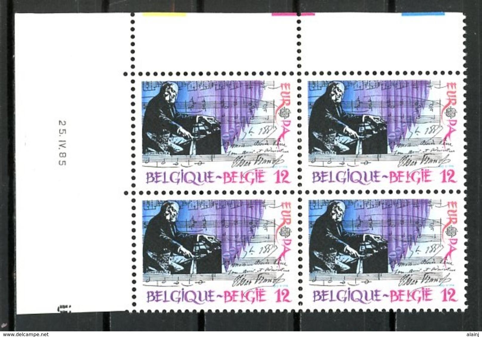 BE   2175   XX   ---  Europa : Musique  --  Bloc De 4  Coin De Feuille  --  Parfait état - Hoekdatums
