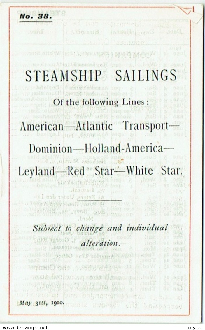 Steamship Sailings, May 1910. Lines : Red Star- White Star/ American-Atlantic Transport/ Dominion_Holland-America. - World