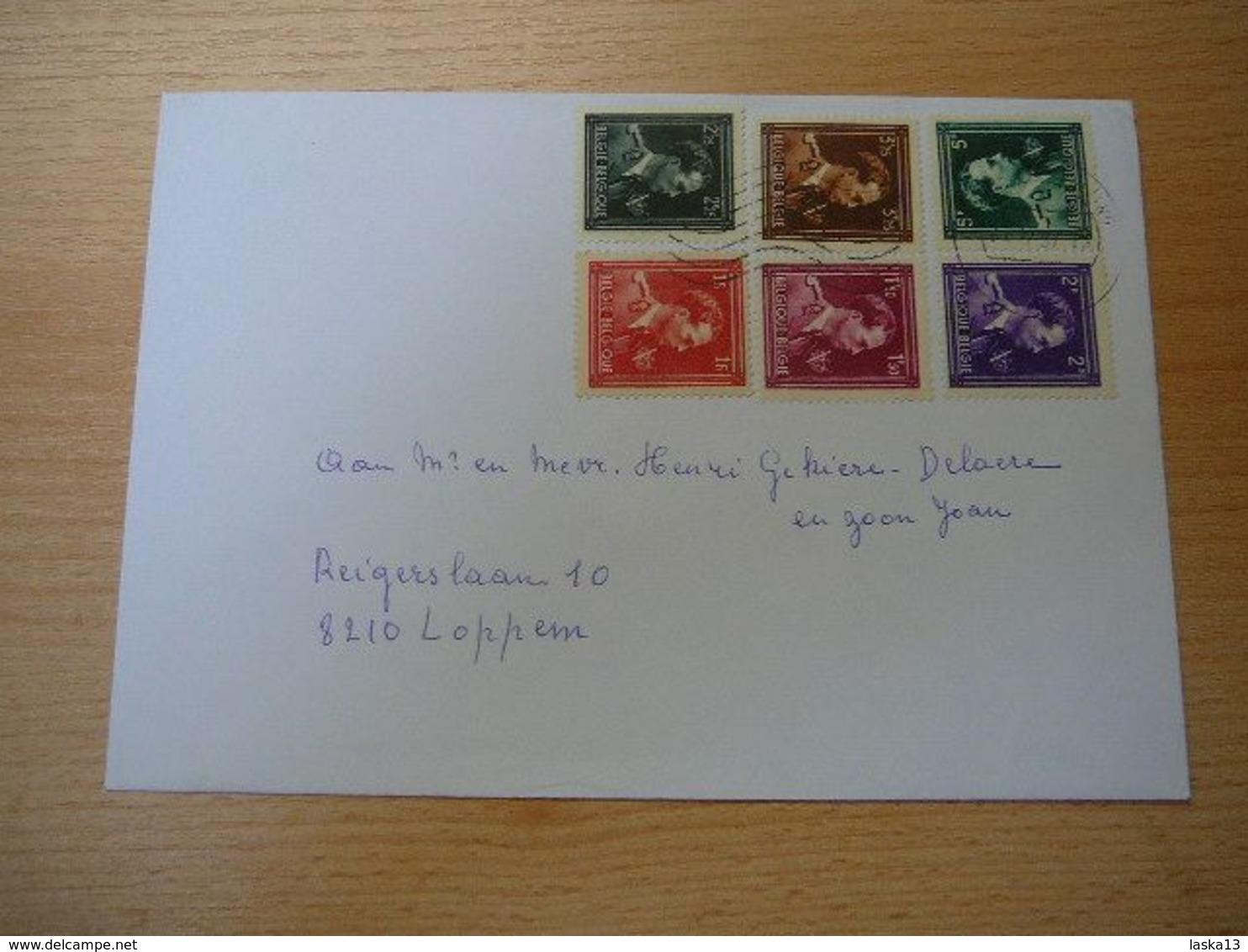 (01.08) BELGIE 1944 Nr 690-691-693-694-695 En 696 Op Omslag - 1936-1957 Open Collar