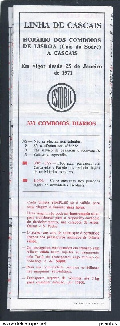 Estoril Railway Company Schedule 1971. Schema Van Estoril Railway Company. Cascais Lijn. Horaire Ferroviaire Estoril.Rar - World