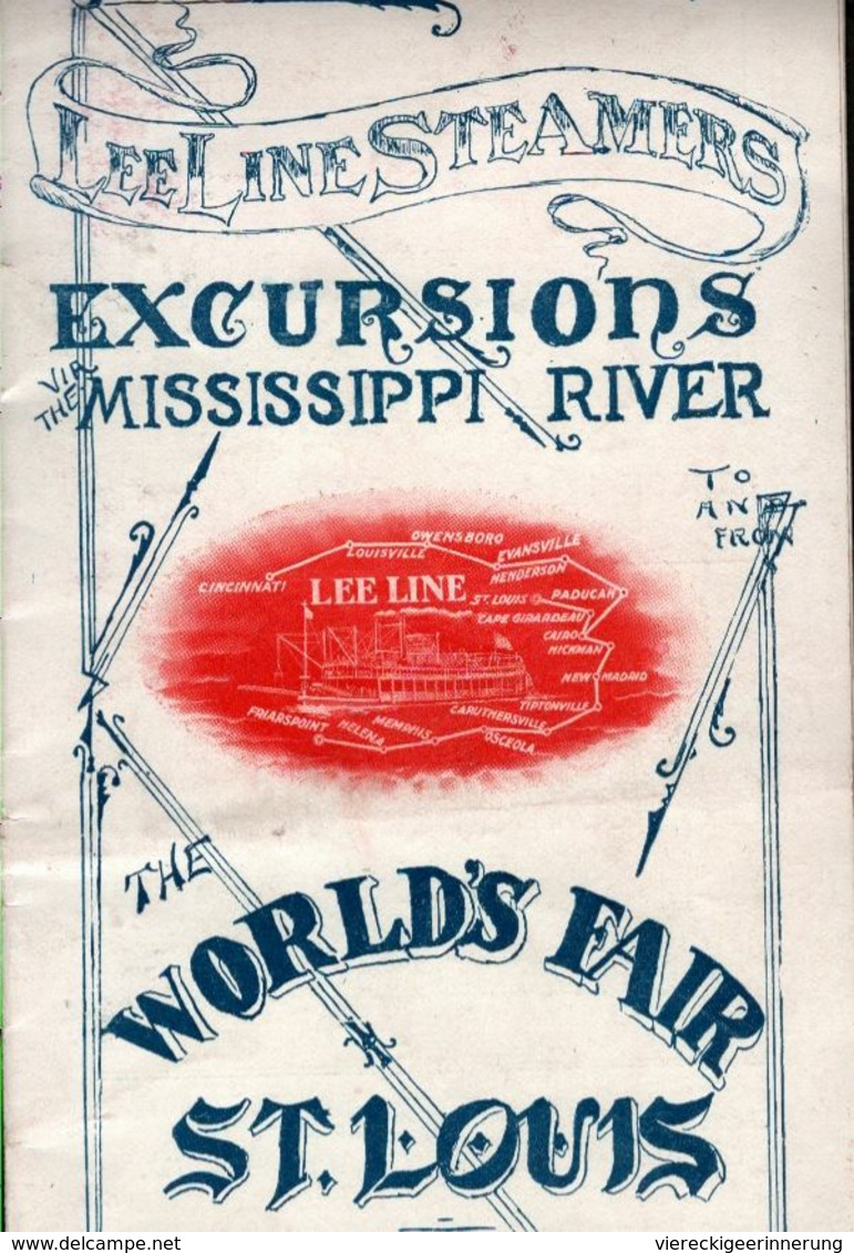 !  Louisiana, Lee Line Steamers, Mississippi, USA,  Worlds Fair St. Louis, 1904, Plan, 20 Pages - World