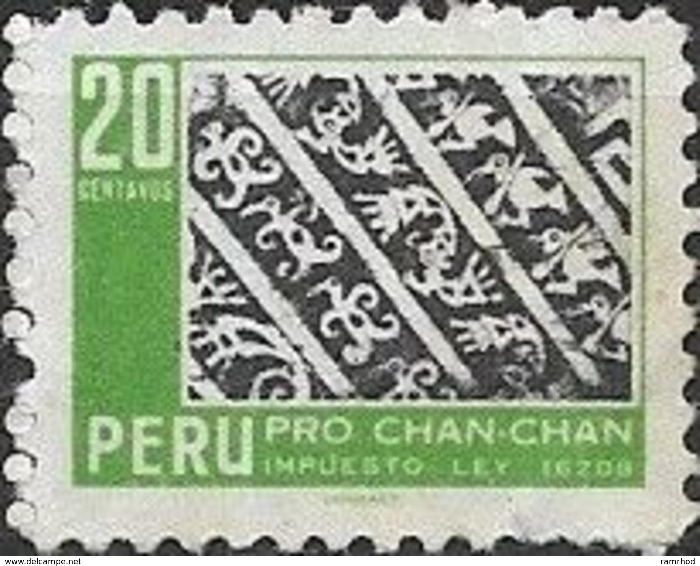 PERU 1967 Obligatory Tax. Chan-Chan Excavation Fund - 20c  Ornamental Pattern (birds) FU - Pérou