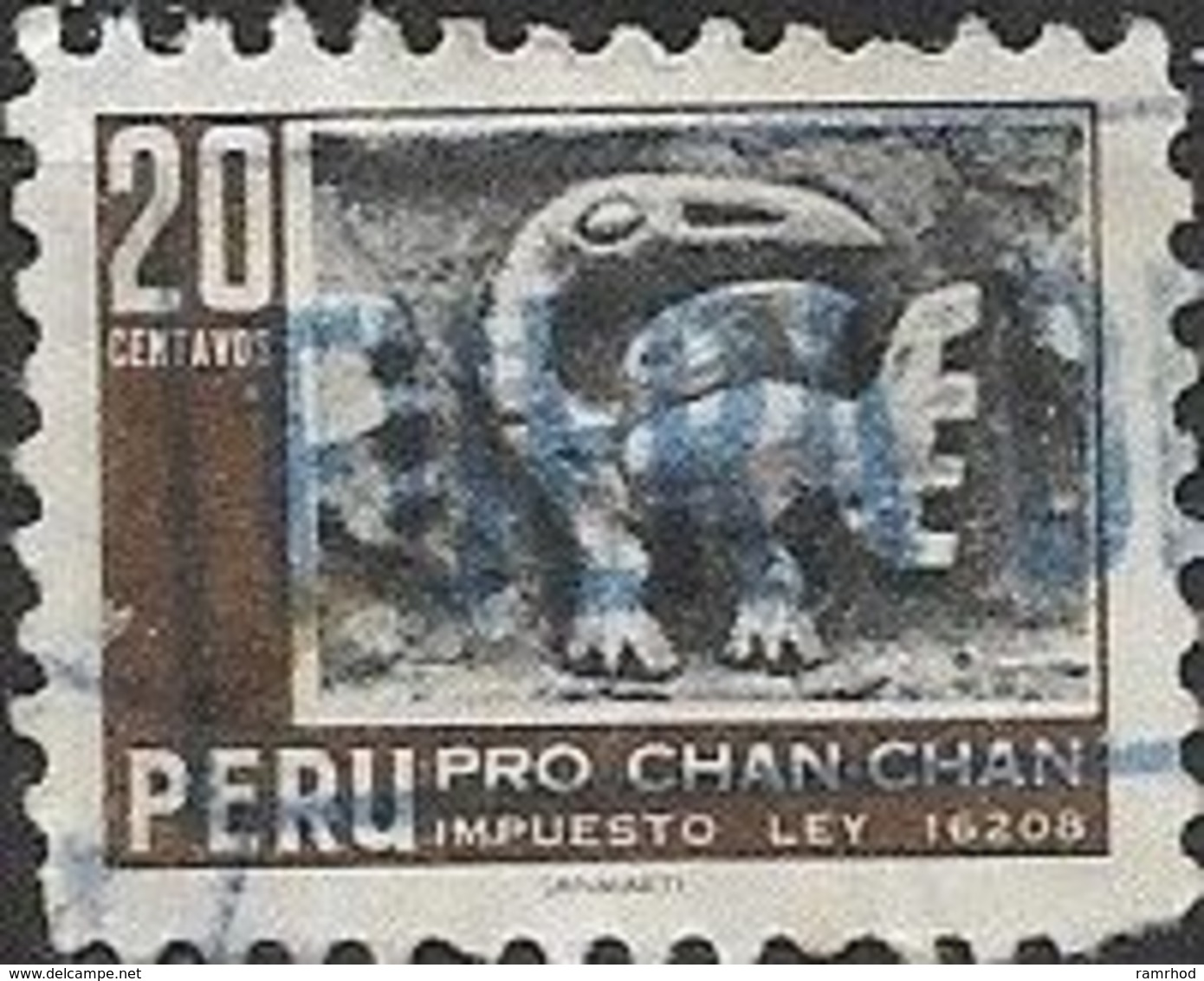 PERU 1967 Obligatory Tax. Chan-Chan Excavation Fund - 20c Carved 'bird'; FU - Peru