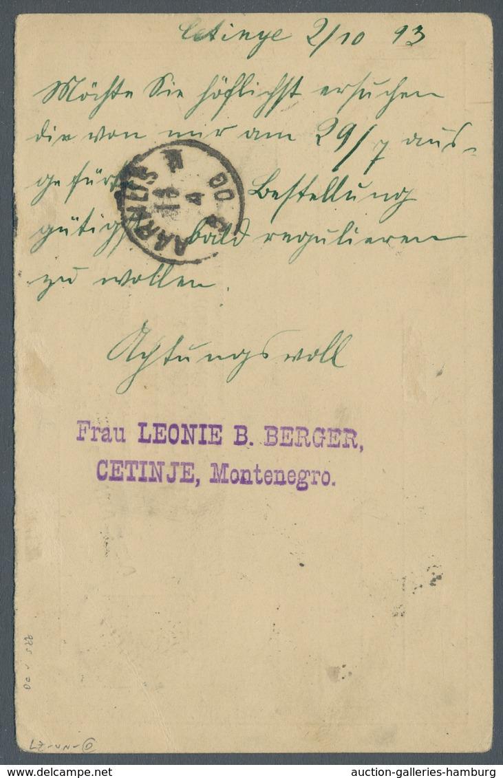 Montenegro - Besonderheiten: 1893, Dänemark-Auslandsantwort-Ganzsachenkarte (P27AI) Entwertet Mit Ei - Montenegro