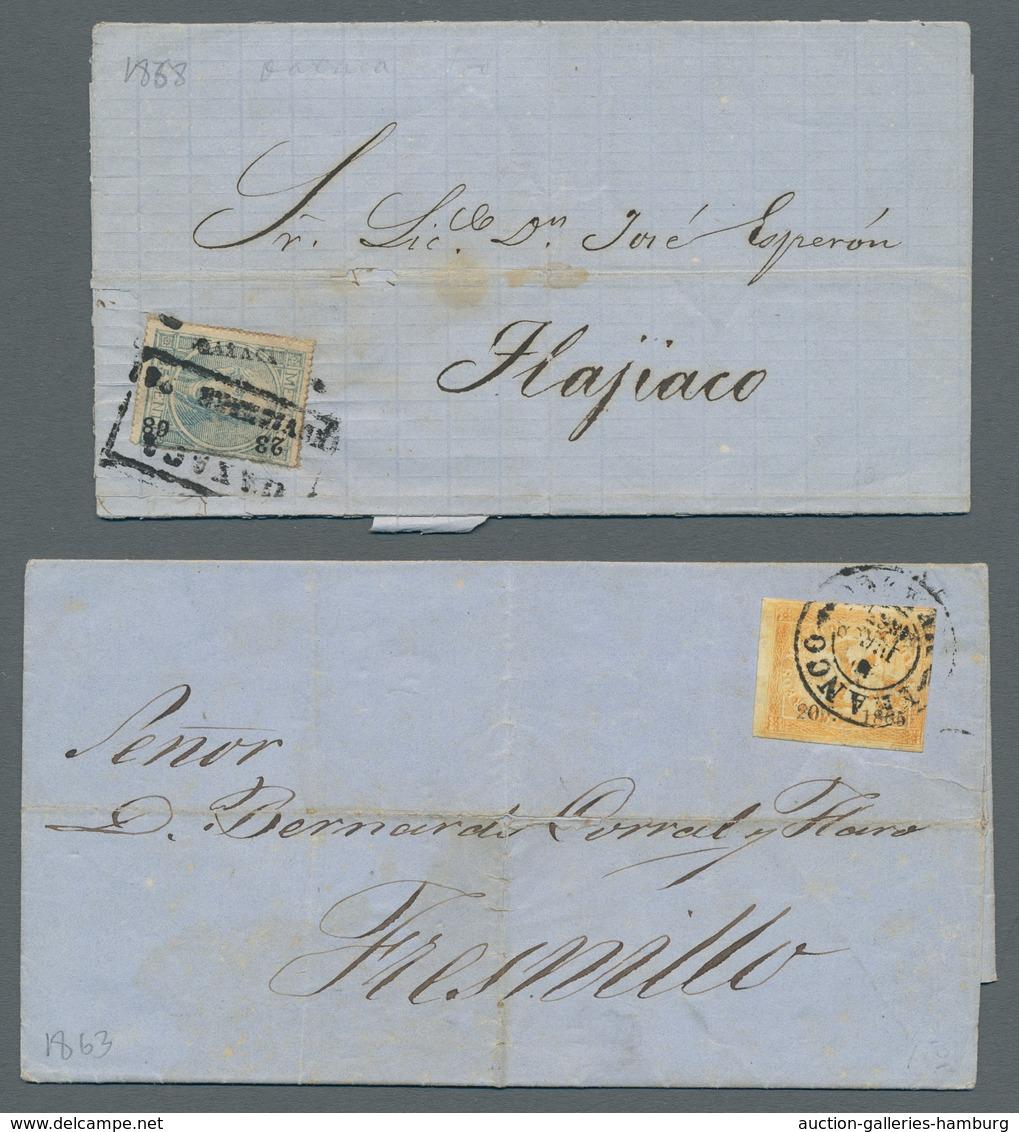 Mexiko: 1830-1875 (ca.), Partie Mit 5 Vorphilabriefen, 5 Mit Diversen Beziksaufdruckmarken Frankiert - Mexico