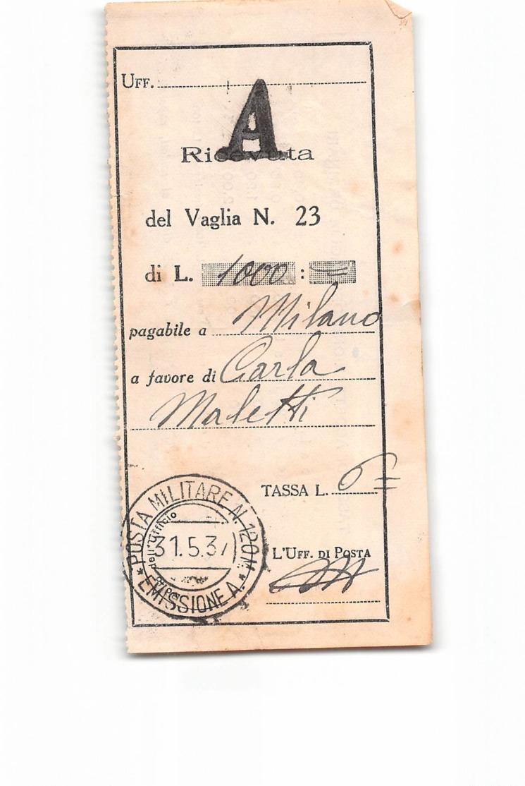 14016 01 RICEVUTA VAGLIA POSTA MILITARE 120M EMISSIONE A X MILANO - Military Mail (PM)