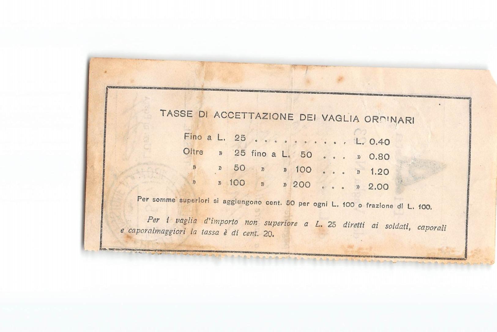 14016 01 RICEVUTA VAGLIA POSTA MILITARE 120M EMISSIONE A X MILANO - Militärpost (MP)