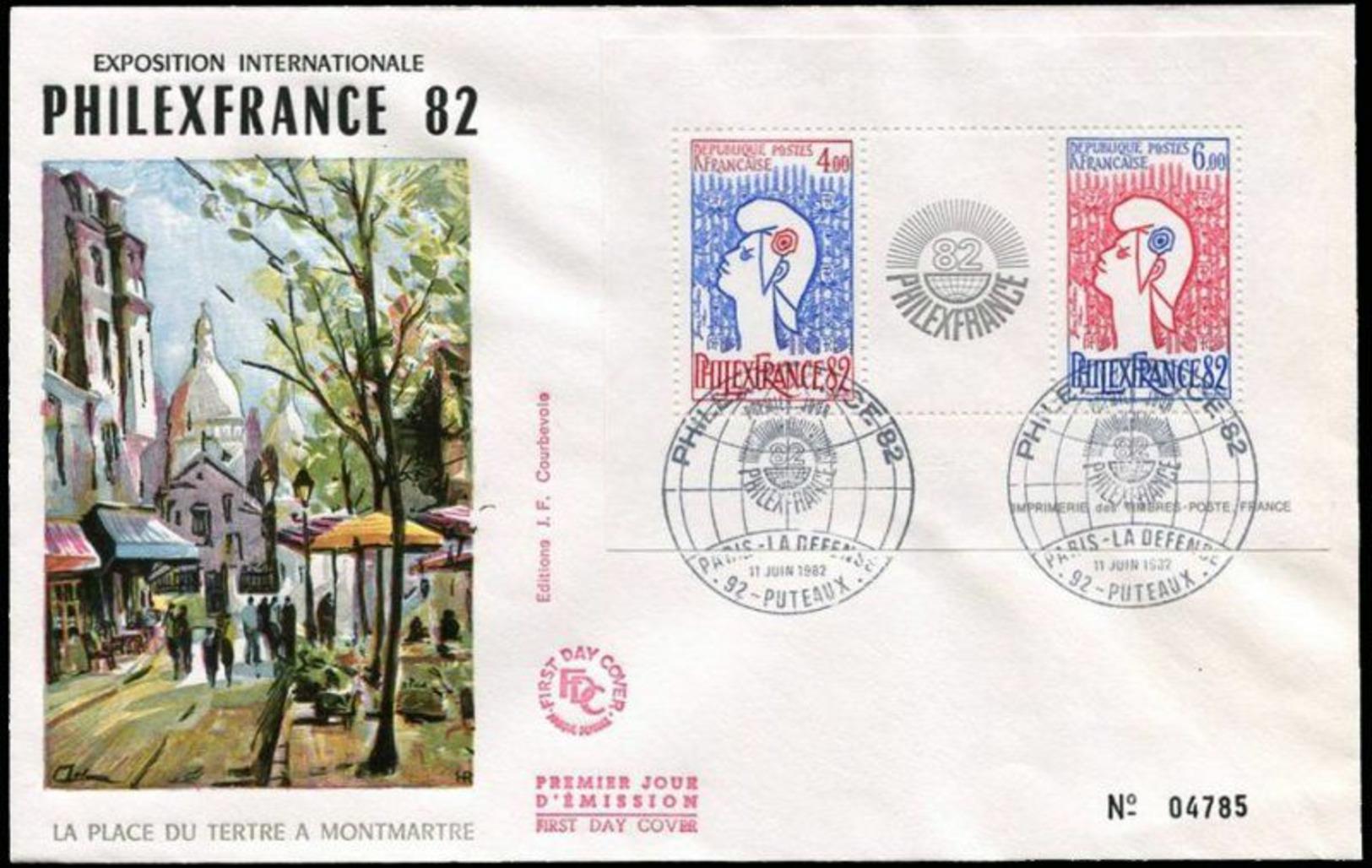 France 1982 1er Jour N° 2216 Philexfrance 1982 Marianne De Jean Cocteau Puteaux Montmartre - 1980-1989