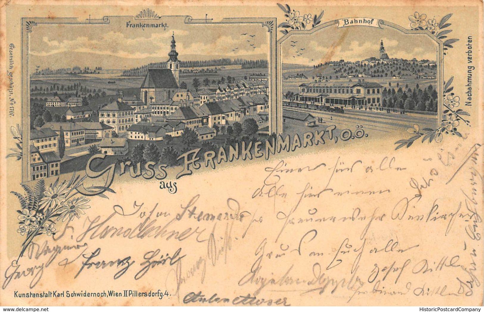 GRUSS Aus FRANKENMARKT AUSTRIA~PANORAMA + BAHNHOF~KARL SCHWIDERNOCH 1899 PHOTO POSTCARD 48066 - Otros