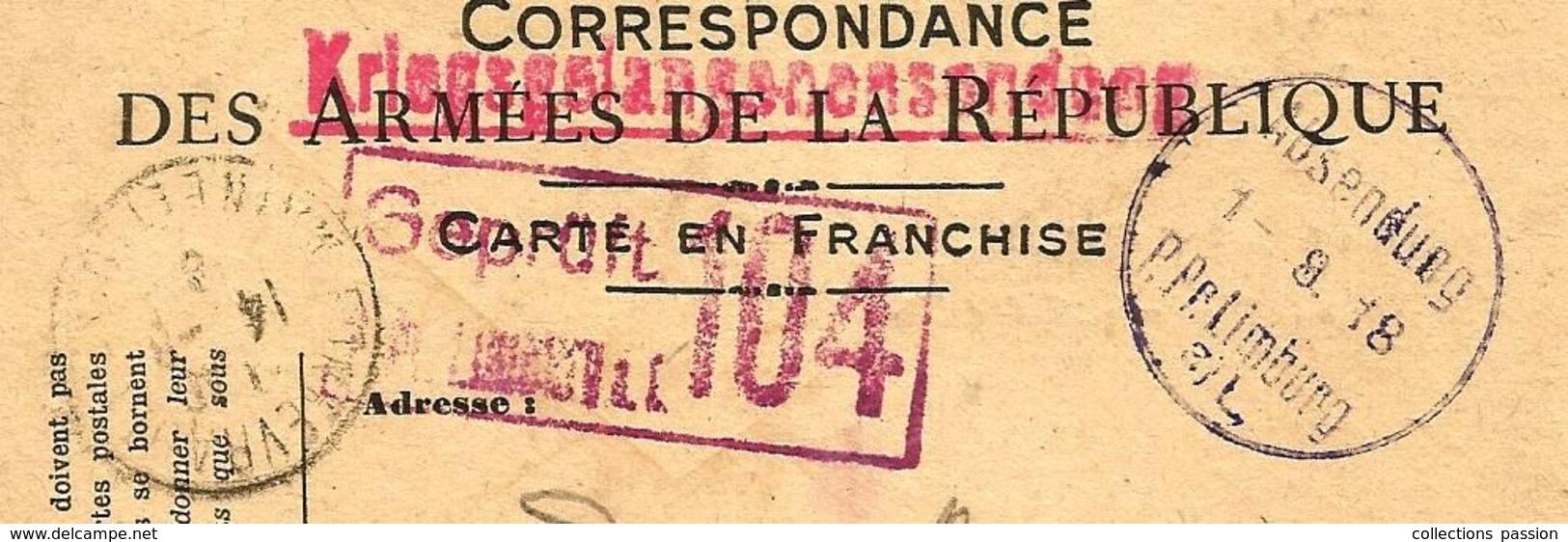 CORRESPONDANCE DES ARMEES DE LA REPUBLIQUE , ALLEMAGNE, Prisonnier ,LIMBURG ,1918 - Covers & Documents
