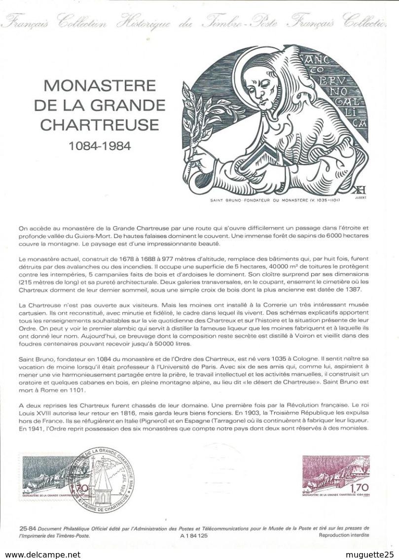 Monastère De La Grande Chartreuse  Feuillet Explicatif Avec Cachet Et Timbre 1er Jour - Documents Of Postal Services