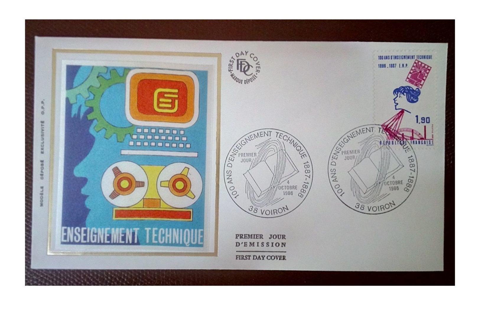 France 1986 1er Jour N° 2444 Enseignement Technique Voiron - 1980-1989