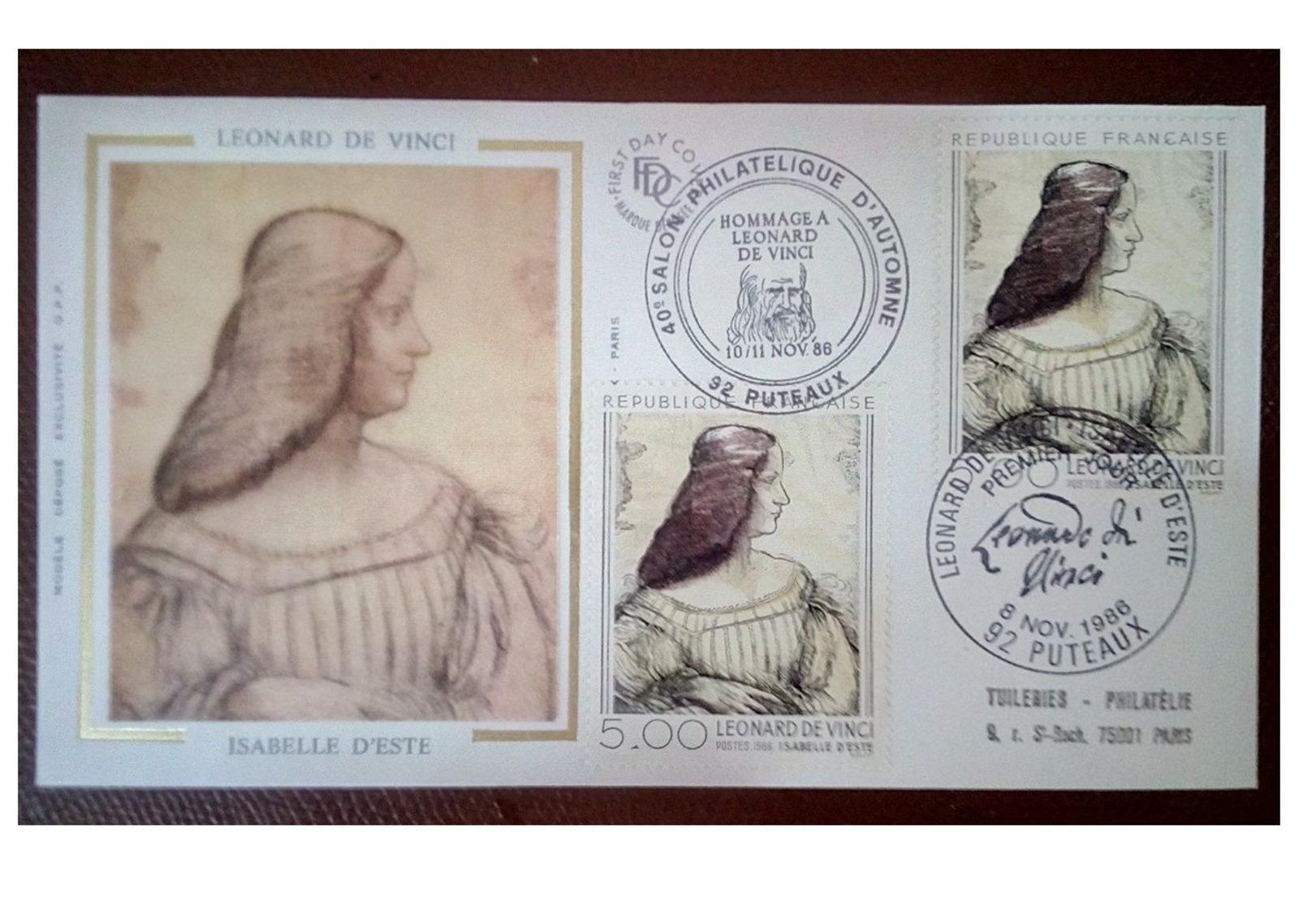 France 1986 1er Jour N° 2446 Léonard De Vinci Signature Autographe Visage Puteaux Double Oblitérations - 1980-1989
