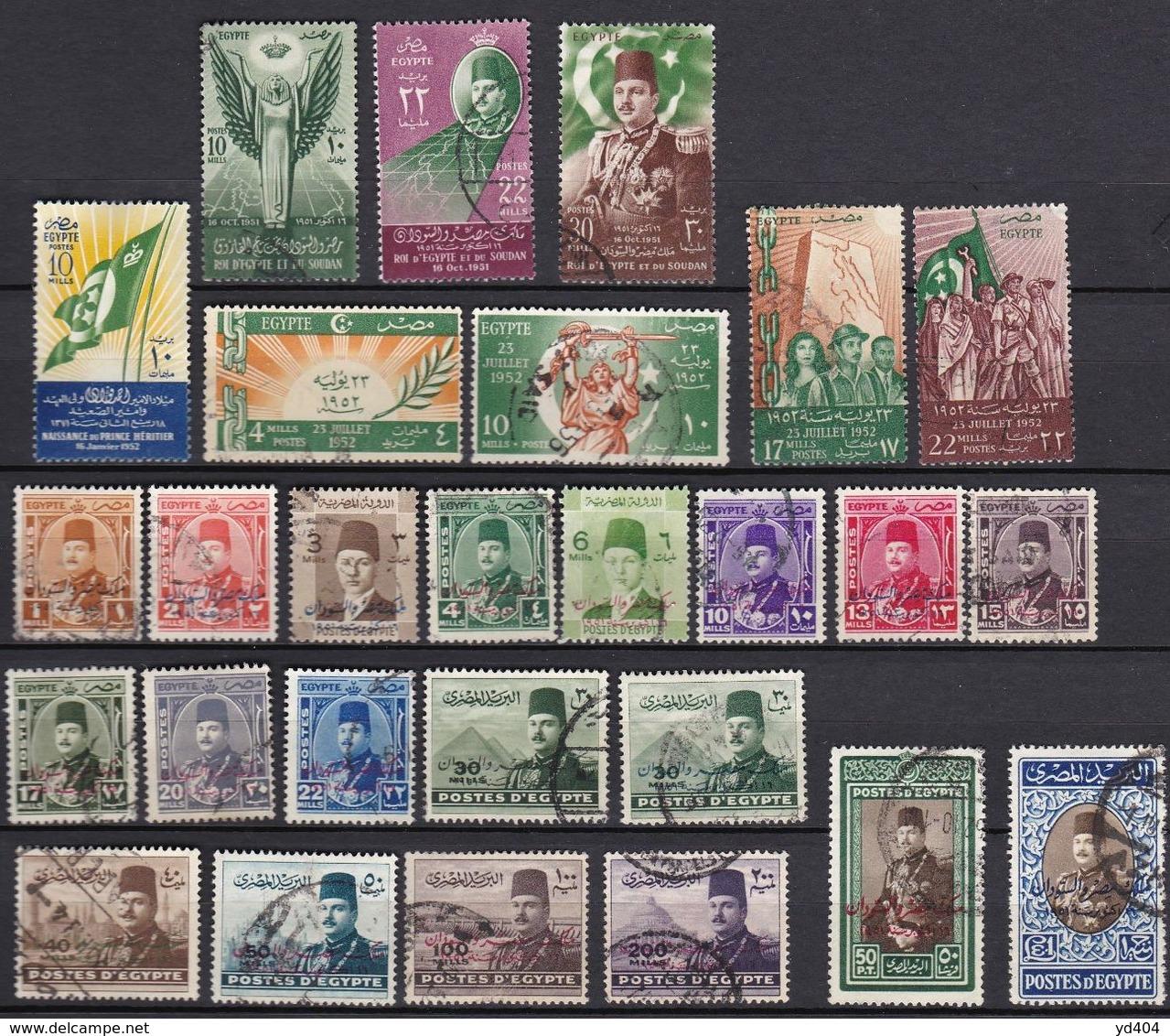 EG094 – EGYPTE – EGYPT – 1952 – FULL YEAR SET – Y&T # 285/310 USED 27 € - Oblitérés